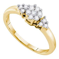 14KT Yellow Gold 0.25CTW DIAMOND FLOWER RING