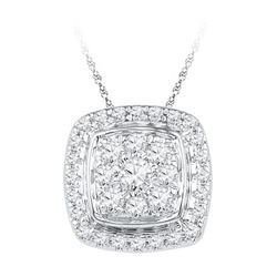 10KT White Gold 0.50CTW DIAMOND FASHION PENDANT