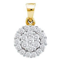 14KT Yellow Gold 0.50CTW DIAMOND FLOWER PENDANT