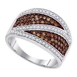 10KT White Gold 0.75CTW COGNAC DIAMOND MICRO-PAVE RING