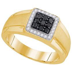 10kt Yellow Gold Mens Round Black Colored Diamond Squar
