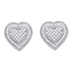 10KT White Gold 0.33CTW DIAMOND HEART EARRING