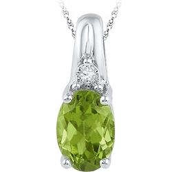 Sterling Silver Womens Oval Lab-Created Green Peridot S
