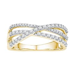 10kt Yellow Gold Womens Round Diamond Triple Strand Cro