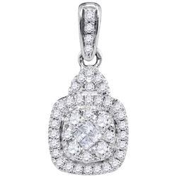 14KT White Gold 0.44CTW-Diamond FASHION PENDANT