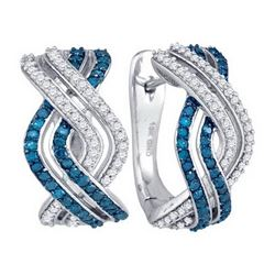 10KT White Gold 0.61CTW BLUE DIAMOND FASHION HOOPS EARR