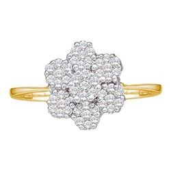 10KT Yellow Gold 0.28CTW DIAMOND FLOWER RING