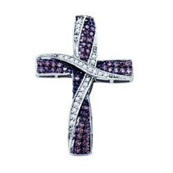 10KT White Gold 0.57CTW COGNAC DIAMOND  CROSS PENDANT