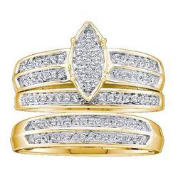 10KT Yellow Gold 0.28CTW DIAMOND LADIES MICRO PAVE TRIO