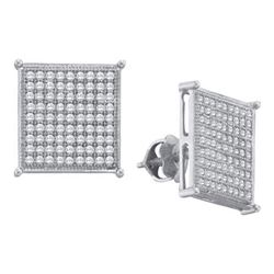 10KT White Gold 0.50CTW DIAMOND MICRO PAVE EARRINGS