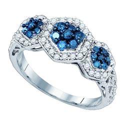 10KT White Gold 0.75CW BLUE DIAMOND FASHION RING