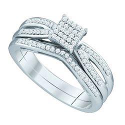 10KT White Gold 0.25CTW DIAMOND MICRO PAVE BRIDAL SET