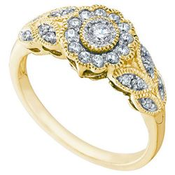 10KT Yellow Gold 0.34CTW DIAMOND FLOWER RING
