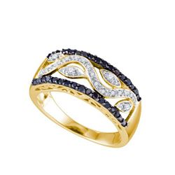 10K Yellow-gold 0.42CTW BLACK DIAMOND FASHION BAND