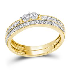 10kt Yellow Gold Womens Round Diamond 2-Stone Bridal We