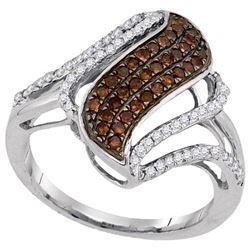 10KT White Gold 0.50CTW COGNAC DIAMOND FASHION RING