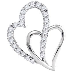 10KT White Gold 0.37CTW DIAMOND HEART PENDANT