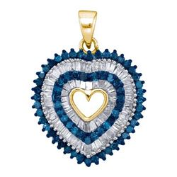 10K Yellow-gold 0.90CTW BLUE DIAMOND MICRO-PAVE PENDANT