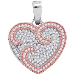 10KT White Gold Two Tone 0.35CTW DIAMOND HEART PENDANT