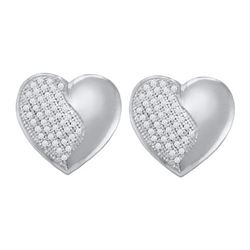 14KT White Gold 0.25CT DIAMOND HEART EARRINGS