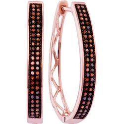 10KT Rose Gold 0.33CTW RED DIAMOND FASHION HOOPS