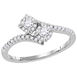 14kt White Gold Womens Round Diamond 2-stone Bridal Wed