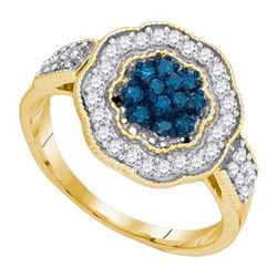 10K Yellow-gold 0.50CTW BLUE DIAMOND FASHION RING