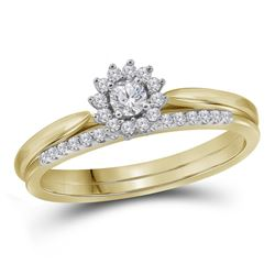 10kt Yellow Gold Womens Round Diamond Halo Bridal Weddi