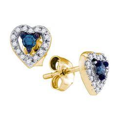 10K Yellow-gold 0.21CT BLUE DIAMOND HEART EARRINGS