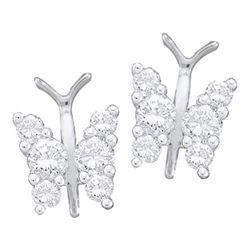 14KT White Gold 0.25CTW DIAMOND BUTTERFLY EARRINGS