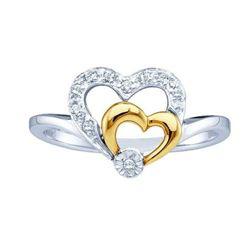 10KT White Gold Two Tone 0.08CTW DIAMOND HEART LADIES R