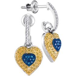 10KT White Gold 0.33CTW-Diamond MICRO-PAVE HEART EARRIN
