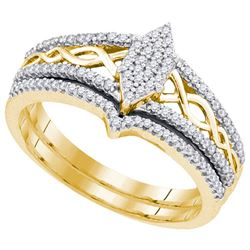 10K Yellow-gold 0.33CTW DIAMOND MIRO-PAVE BRIDAL SET