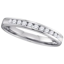 14KT White Gold 0.28CTW ROUND DIAMOND MACHINE SET BAND