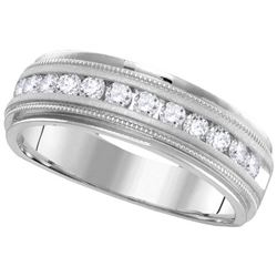 14KT White Gold 0.25CTW-Diamond MENS BAND