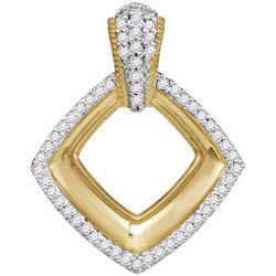 10kt Yellow Gold Womens Round Diamond Diagonal Framed S