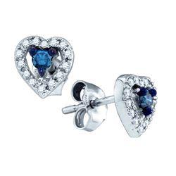 10KT White Gold 0.21CT BLUE DIAMOND HEART EARRINGS