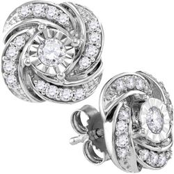 Womens 10K White Gold Fanook Stylish Flower Real Diamon
