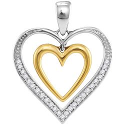 10kt Two-tone Gold Womens Round Diamond Dangling Nested