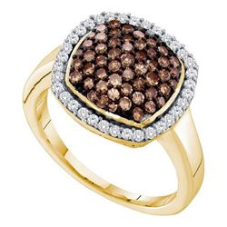 10KT Yellow Gold 0.95CTW COGNAC DIAMOND FASHION RING