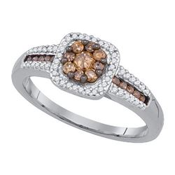 10KT White Gold 0.50CTW COGNAC DIAMOND FASHOIN RING