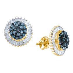10KT Yellow Gold 1.0CTW BLUE DIAMOND FASHION EARRING