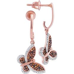 10KT Rose Gold 0.25CTW RED DIAMOND MIRCO-PAVE EARRINGS