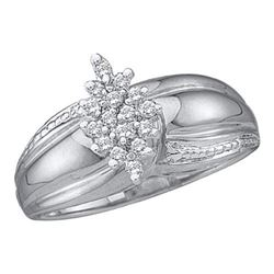 925 Sterling Silver White 0.15CTW DIAMOND CLUSTER RING
