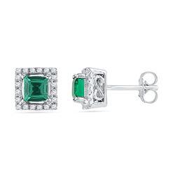Womens 10K White Gold Halo Square Lab Emerald Real Diam