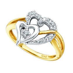 10KT Yellow Gold Two Tone 0.10CTW ROUND DIAMOND HEART L
