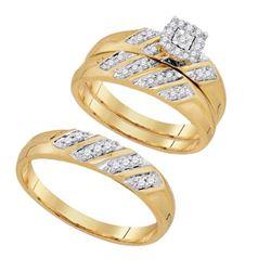 10K Yellow-gold 0.28CTW DIAMOND FASHION TRIO SET