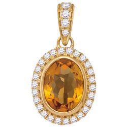 14KT Yellow Gold 0.17CT-Diamond 0.95(MIN)CT CITRINE PEN