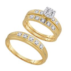 10K Yellow-gold 0.25CTW DIAMOND FASHION TRIO SET