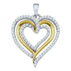 10KT White Gold 0.40CTw DIAMOND HEART PENDANT